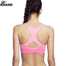 2016 Women Yoga Vest Shakeproof Sport Bras Solid Athleisure Padded Yoga Bra Tops Fitness Activity Underwear Strip Lady Bra
