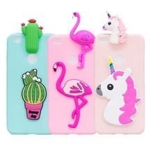 3D Cute Unicorn Cactus Flamingo Case For Huawei P8 P9 Lite 2017  Soft TPU Lovely Cartoon Phone Cover P10 Honor 8