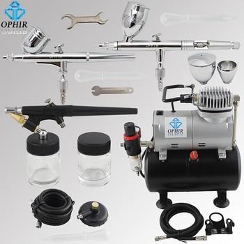 Набор Аэрограф OPHIR 3 с компрессором для автомобильной краски, тату, украшения торта, AC090 + 004A + 071 + 006