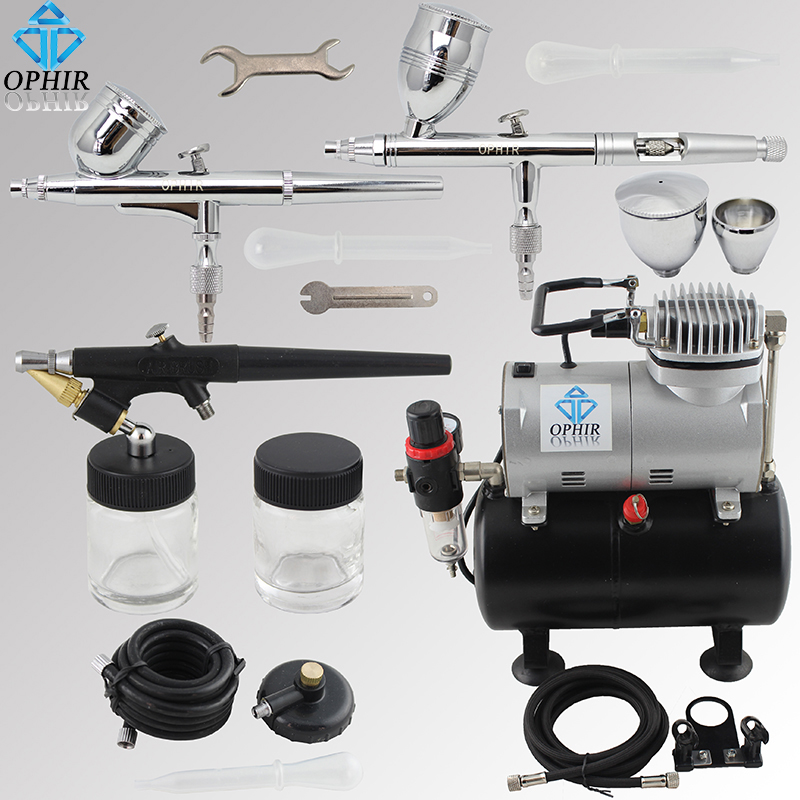 OPHIR 3 Airbrush Guns with Air Brush Tank Compressor for Car Paint Hobby Tattoo Cake Decorating Airbrush Kit _AC090+004A+071+006