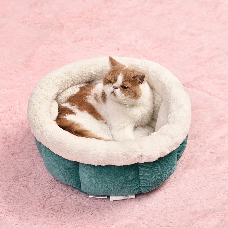Pet Supplier Dog Cat Kennel Pet Round Bed Warm Soft Damp-proof Kitten Puppy Cave House Leisure Stone Pattern For Pet 4 Colors