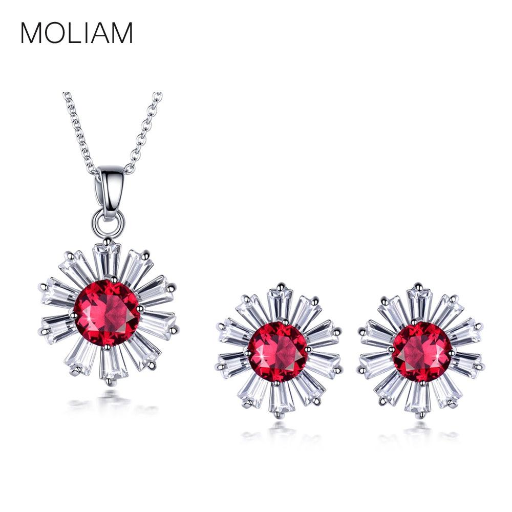 a703286797aa Moliam nuevo cristal austríaco conjunto de joyas mujer señora hermosa flor AAA  cubic zirconia collar Pendientes Sets mldyf029