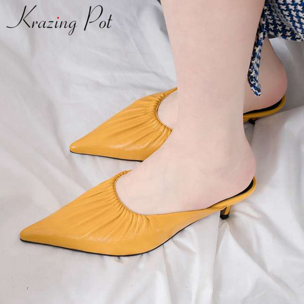 Krazing pot pleated design sheep leather slip on mules Hollywood movie stars pointed toe kitten med