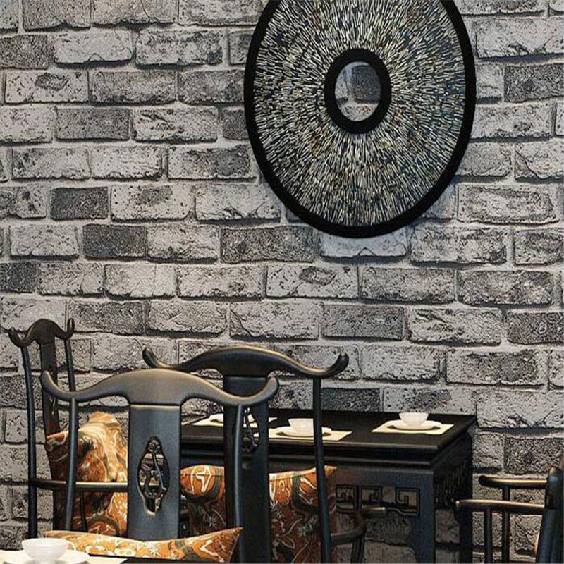 Beibehang Thick brick pattern Chinese retro wallpaper hotel engineering living room background wall PVC wallpaper  for walls 3 d