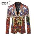 OSCN7 Estilo Chinês Impresso Mens Blazer Vermelho 2017 Mais Recente Slim Fit Lazer Blazer Masculino Plus Size Moda Suit Jacket M-3XL