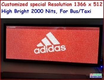 Pantalla led personalizada, 1366x512mm, alta resolución, diseño especial para autobús/taxi y necesidades especiales, 30 pulgadas, tira vertical rgb