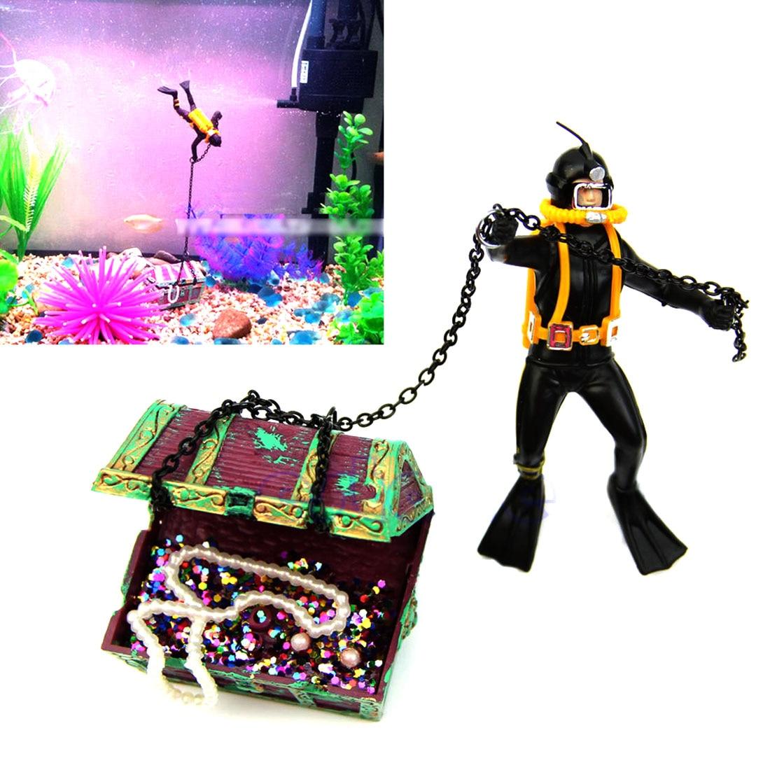 Fish aquarium price list - Unique Design Fish Tank Aquarium Ornament Landscape Hunter Diver Treasure Figure Action Home Decor China