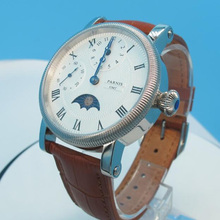 Parnis Leather Handwind Watches PVD Case Bule Hands White Dial Small Second Mens