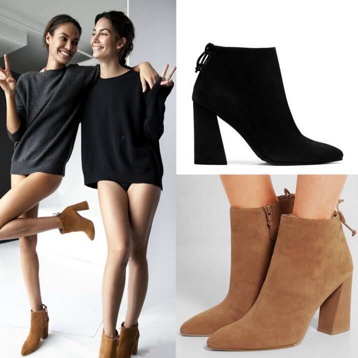 fb3734ab270c3 New Designer Black Tan Suede Leather Ankle Bootie High Heel Pointy toe Side  zip Back-Tie Block-Heel Bootie For Women