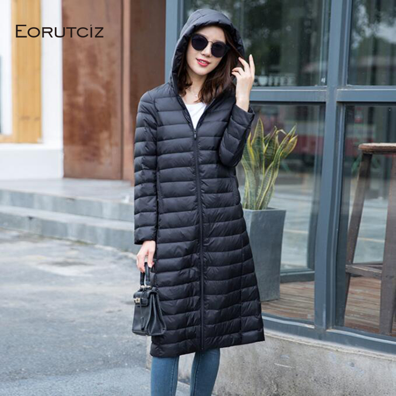EORUTCIZ Winter Plus Size 3XL   Down     Coat   Women Long Ultra Light Hoodie Jacket Spring Vintage Slim Casual   Coat   LM359