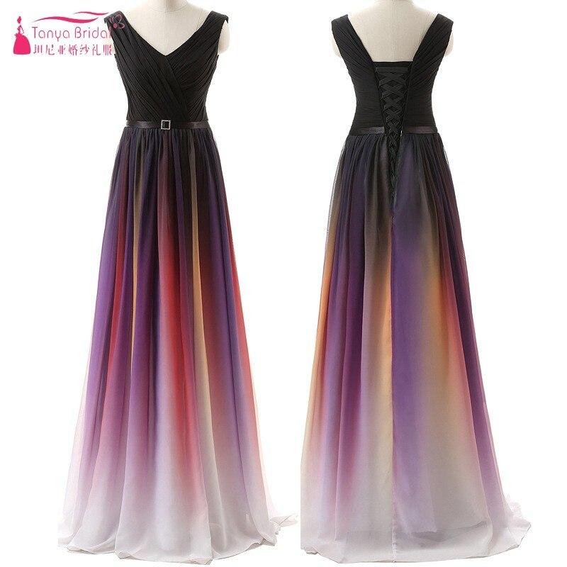 V Neck Gradient Long   Prom     Dress   vestidos de fiesta largos elegantes de gala Formal vestido de festa longo   Prom   Gown DQG501