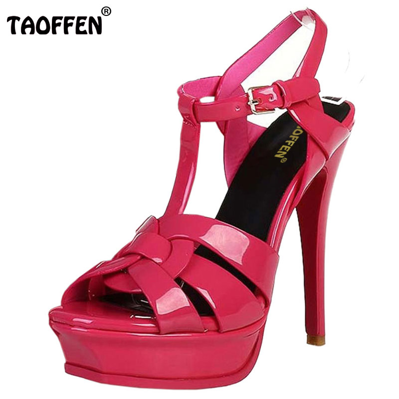 TAOFFEN Free Shipping Quality Genuine Leather 9cm/14cm High Heel Sandals Women Sexy Footwear Fashion Lady Women Shoes Size 33-40 taoffen women high platform shoes patent leather star lady casual fashion wedge footwear heels shoes size 33 48 p16184