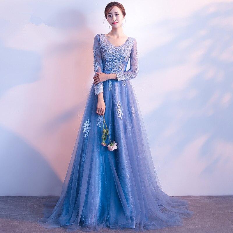 Paars prom dresses 2018 tule met kant geappliceerd a-lijn avondfeest - Jurken voor bijzondere gelegenheden - Foto 6