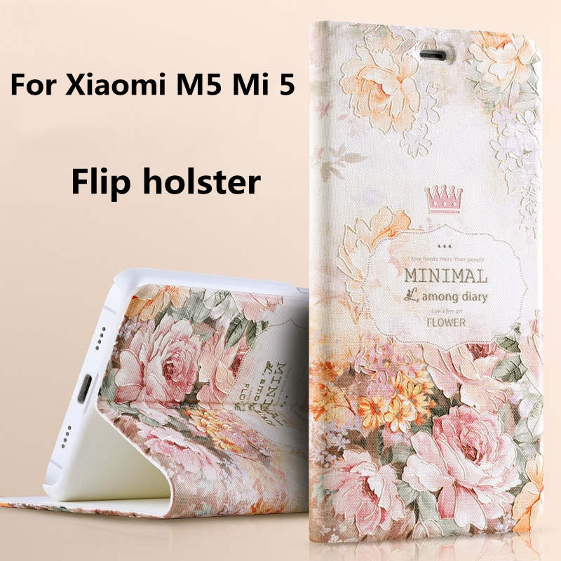 Top Quality 3D Colored Painted Flip Stand bracket Luxury Phone Bags Cover Case For Xiaomi M5