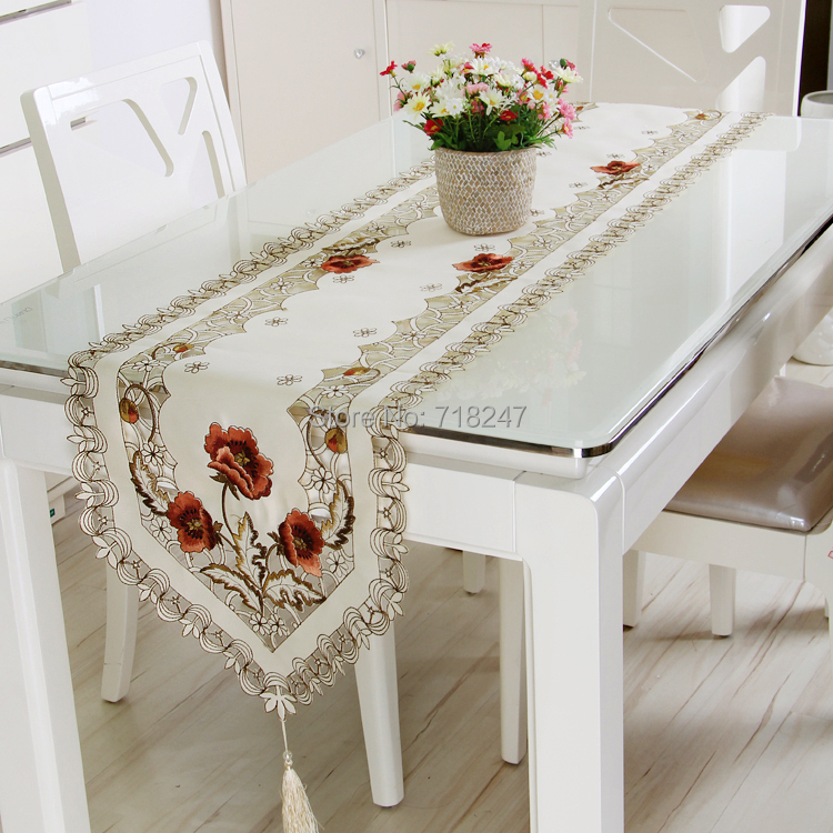 Hot Sale Elegant Design Polyester Embroidery Table Runner Satin Embroidered  Floral Cutwork Table Cloth Linen Cover
