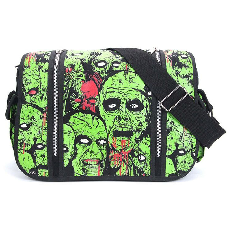 Noctilucous Terror Skull Eyeballs Shoulder Bag Canvas Bloody Halloween Handbag For Men Horror Costume Scary Luminous Skull Glow