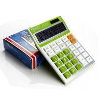 Candy Colors Electronic Calculator Big Buttons Dual Solar Power Desktop Desk Calculating Computer Finance Calculator Office