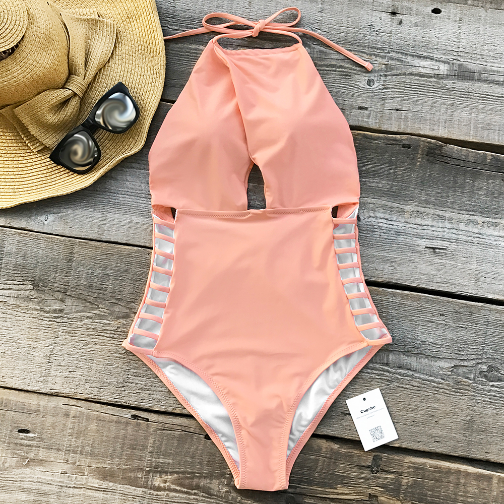 Cupshe Gone With the Wind Solid One-piece Swimsuit Backless Women Sexy 2018 Bikini Ladies Beach Hollow Bathing Suit Swimwear