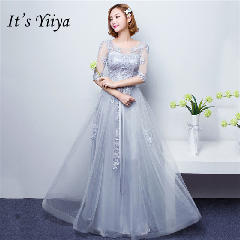 It's YiiYa New Half Sleeve   Bridesmaid     Dresses   Fashion O-neck A-line Floor-length Party Frocks YG007