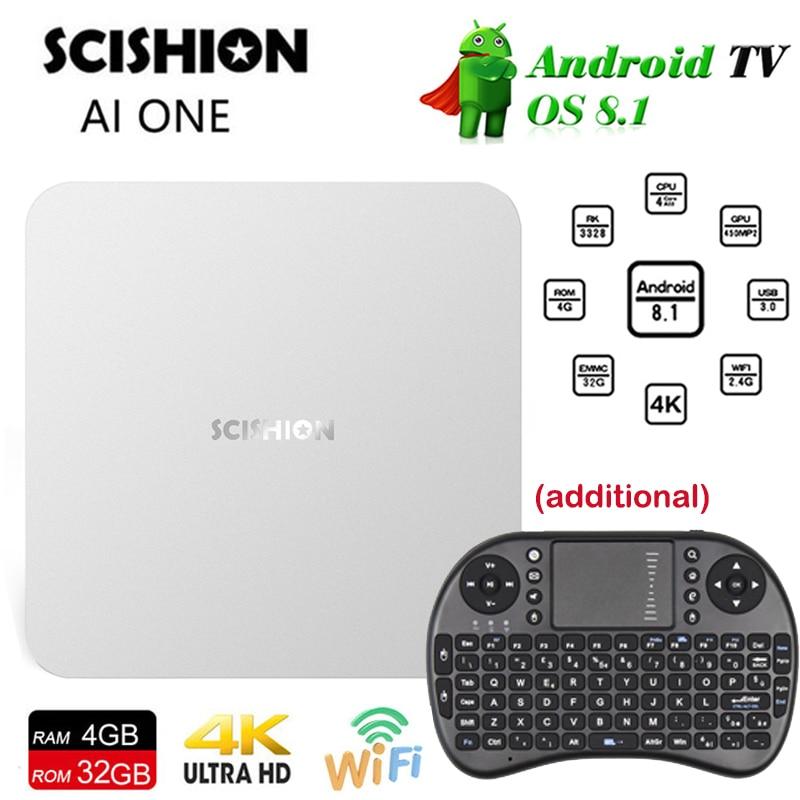 SCISHION AI ONE smart TV Box android 8.1 4GB 32GB WiFi Set Top Box BT4.0 Media Player Display Screen Voice Control Set-top Box цены онлайн