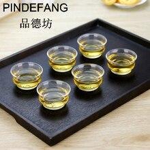 PINDEFANG 6 шт. термостойкая стеклянная чашка кунг-фу чайные чашки, кружки кофейный стакан Tass Giftset искусство стеклянная чашка оптом посуда для напитков мин