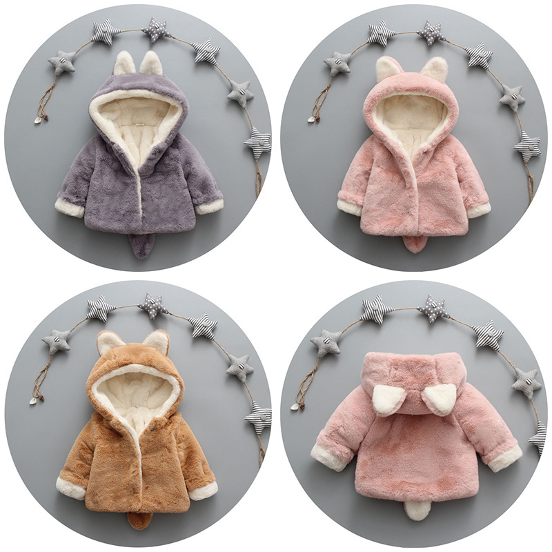 Boys Girls Winter Autumn Fleece Warm Coat Cute Ear Hooded Overcoat Cotton Clothing Clothes for Baby Kid Children in Down Parkas from Mother Kids