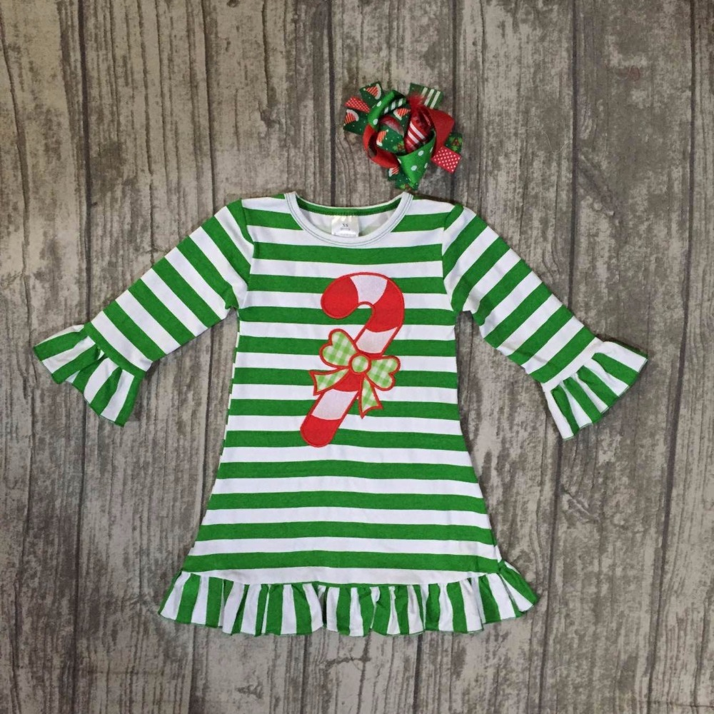 все цены на Christmas fall/winter baby girls cotton outfits green striped ruffle dress hook candy children clothes boutique dress match bows