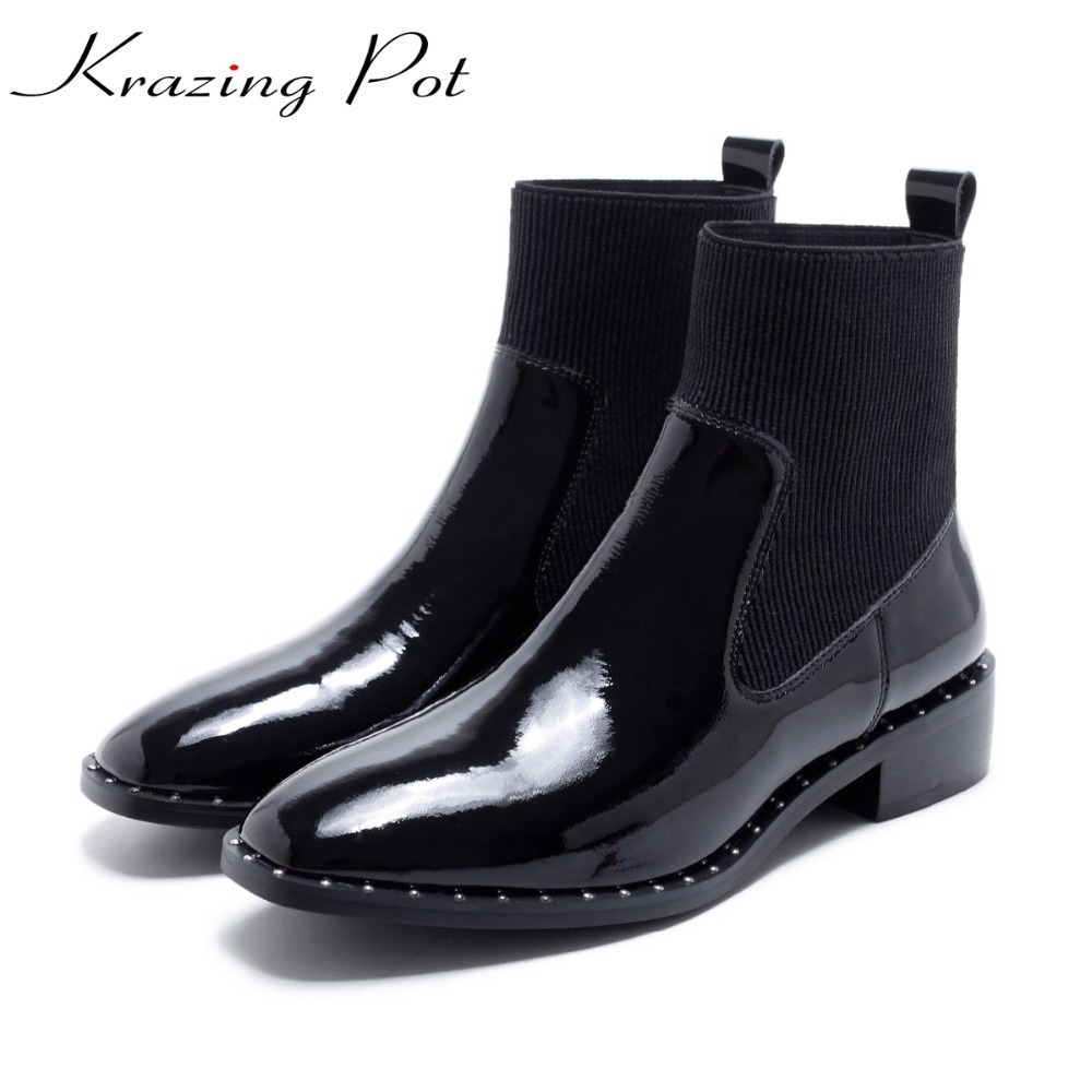 Krazing Pot genuine leather shoes women med heels beading rivets slip on square toe ankle beauty punk style Chelsea boots L81 krazing pot fashion brand shoes genuine leather slip on european style square toe preppy style tassel med heels women pumps l12