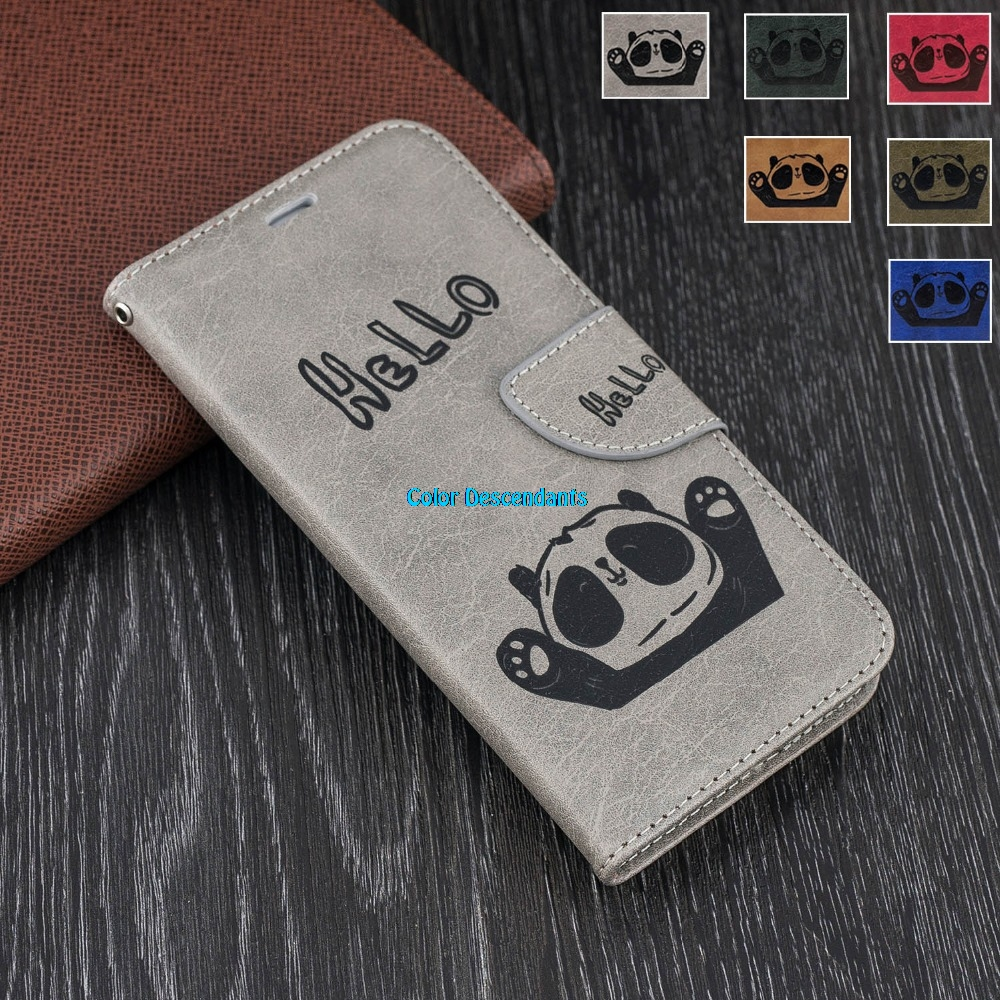 For Huawei Enjoy 7S FIG-AL10 3D Small Panda Leather Wallet Flip Cover sFor Huawei P Smart FIG-LX1, FIG-LX2, FIG-LX3 Phone Cases