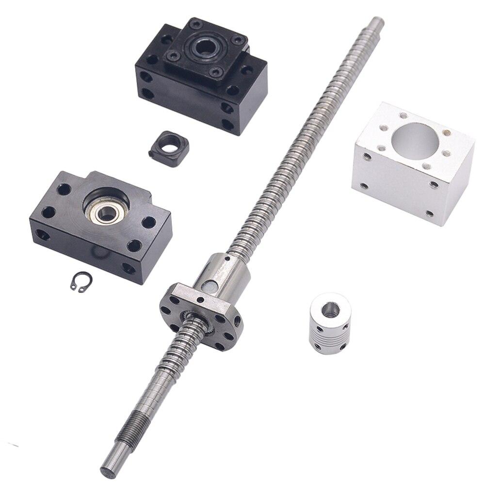 SFU1204 ensemble: SFU1204 vis à billes roulée C7 avec bout usiné + 1204 écrou à bille + écrou logement + BK/BF10 fin support + coupleur RM1204 - 5
