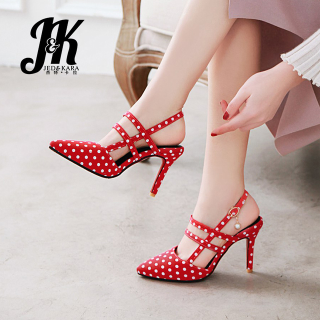 JK New Denim Thin High Heels Pumps Women Pointed Toe Buckle Strap Crystal Footwear Shoes Office Shoes Woman 2019 Spring Summer