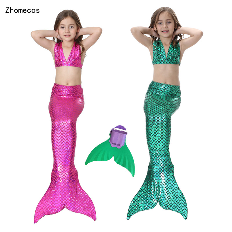 4 Pcs Girl Little Mermaid Tails Swimmable Costumes Cosplay with Monofin For Kid Mermaid Tail Swimming Suit Zeemeerminstaart