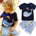 2017 Sale New Children's Clothing Boys Summer Whale T-shirt and Striped Shorts Sports Suit Brand Children Boy Baby Kids Outfits
