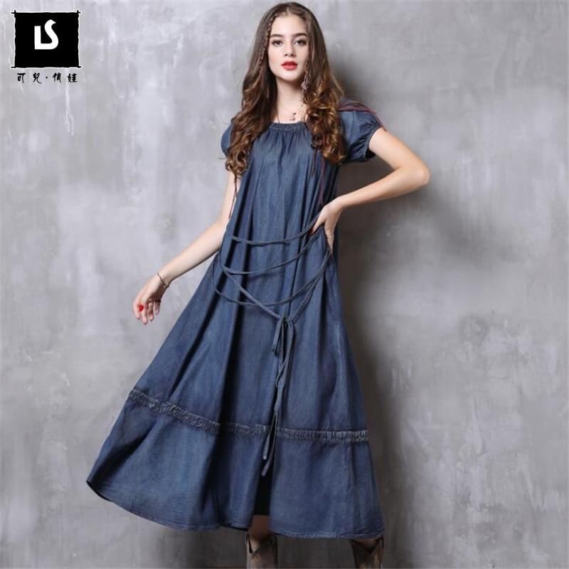 Femmes robe 2019 Bandage conception robes nouvelles femmes Vestido Vintage Denim lâche grande balançoire à manches courtes robe d'été Vestido femme