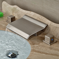 Fashionable Spout Design Waterfall Faucet Brushed Nickel Countertop Sink Water Taps