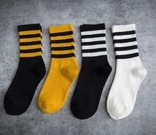 Women Cotton Fashionable Jacquard  Winter Autumn Striped Heap Crew Socks Casual Solid Sport Korean