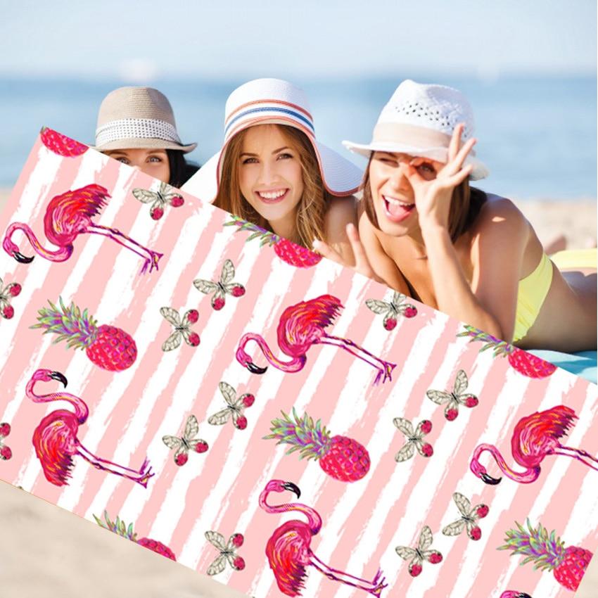 Bath Towel Beach Towel 70*150cm Flowers Flamingos Print Beach Towels For Adults Serviette De Plage Bain Para Playa Toallas