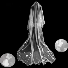 2.8Meters Long Wedding Veils Chapel Single One Layer Soft Tulle With Flowers Pearl Elegant Bridal Accessories