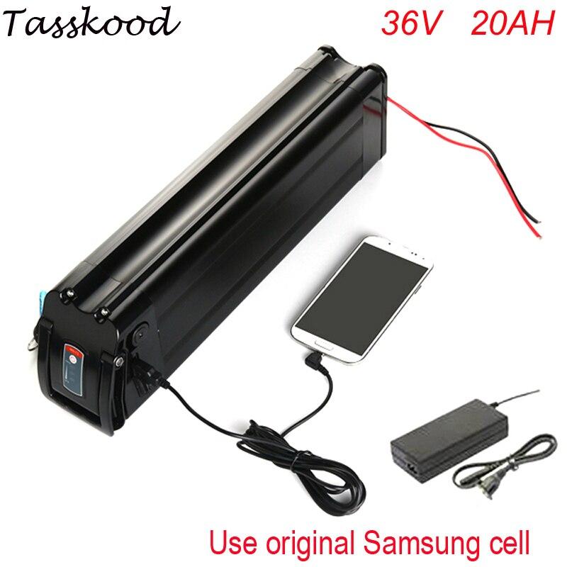 Batterie de poisson argenté 36 V 20Ah batterie de vélo électrique 1000 W Li ion batterie avec chargeur 42 V 15A BMS + port USB pour cellule Samsung