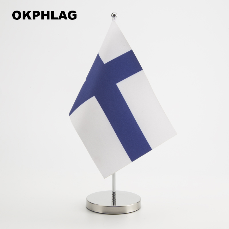 Finland office table Flag with Stainless flagpole base country banners desk flag 14*21CM