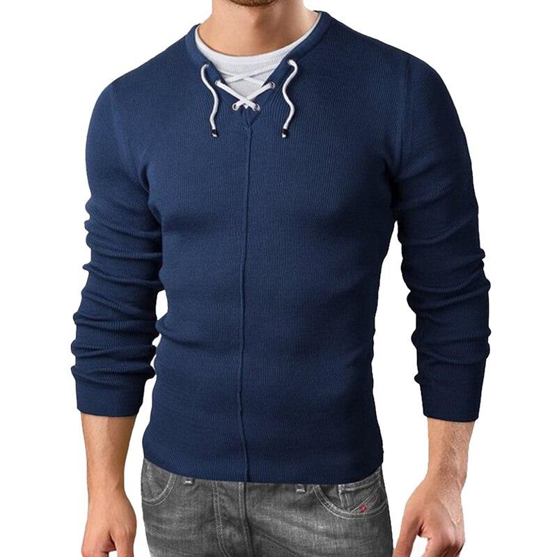 2018 Neue Herren Gefälschte Zwei Stücke Pullover Fashion Solid Langarm Pullover Tops Herbst Casual Lace Up V-ausschnitt Stricken Bodybuilding Bequemes GefüHl