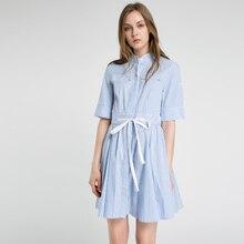 Women's blue and white striped shirt dress lady 2017 summer shirtdress