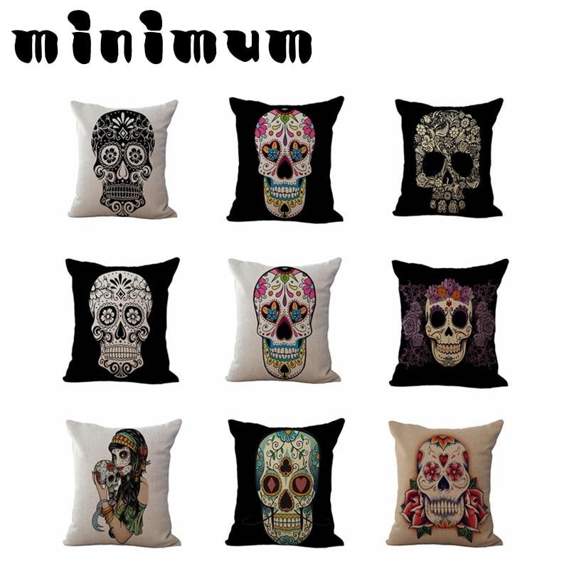 Pillowcase Punk Bohemia Paisley Skull Cushion Cover Cotton Linen Size 45*45 Printed Throw Pillows Decorative Cojines