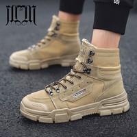 MUMUELI Khaki Black Gray 2018 Designer Casual Timber Land Men Shoes High Top Quality Fashion Flat Brand Work Boots Sneakers 2800