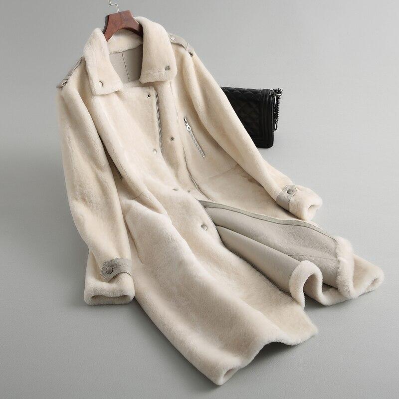 Femmes Épais Hiver Conception En Long Moutons White Manteau Naturelle De Cuir Ivory Mode Daim Fourrure Chaud Des Npi Féminine Vêtements À Tonte 81018b xtAAEXSwq