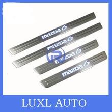 Светодиодные нержавеющей стали дверной порог скребок для mazda 6 m6 2003 2004 2005 2006 2007 2008 автомобильные аксессуары для укладки 3D стикер