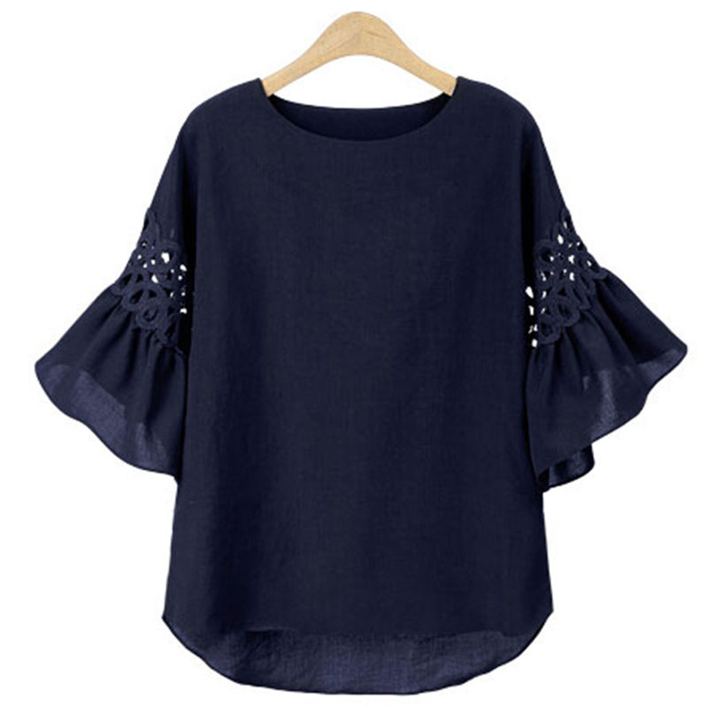 Fashion Dark blue/ White Tee   Shirt   Women Flared Bell Sleeve Casual Solid Ladies Tops   Blouse     Shirt   Tops