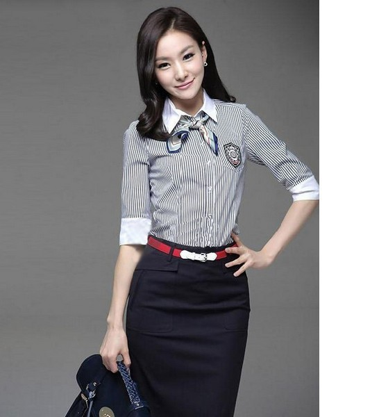 2013 New Shirt Dress Formal Momen's Clothing Fashion Edition OL Casual Striped Blouse With Short Sleeves S M L XL XXL XXXL
