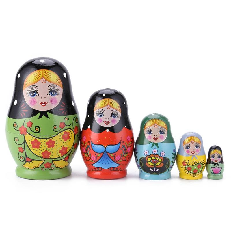 1 Set Nesting Dolls Color Painted Russian Matryoshka Doll Handmade Crafts Russian Nesting Dolls Baby Toy Girl Doll Wholesale