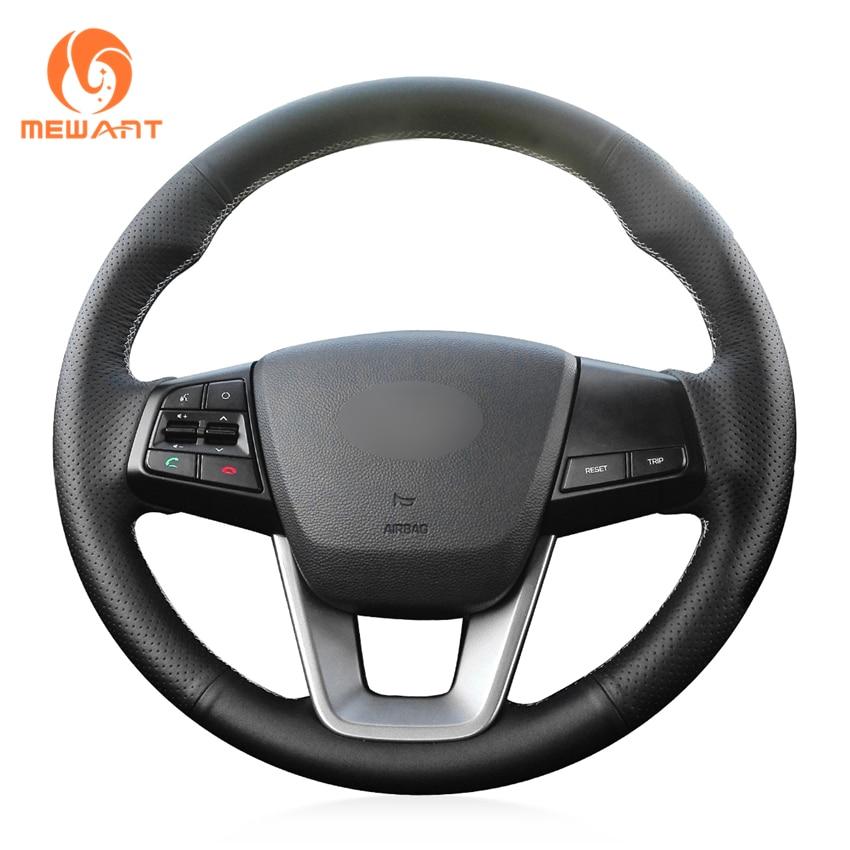 MEWANT Black Genuine Leather Car Steering Wheel Cover for Hyundai ix25 2014-2016 Creta 2016 2017 коврики в салонные ниши синие ix25 для hyundai creta 2016